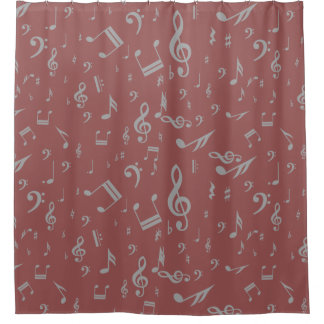 Gray musical notes on Earthy Marsala Shower Curtain