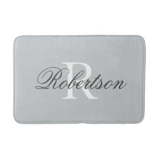 Gray name monogram bath mat | small medium large bath mats