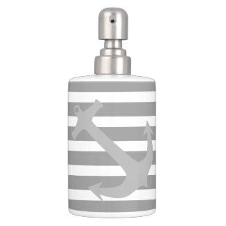 Gray Nautical Anchor Bathroom Accessory Set