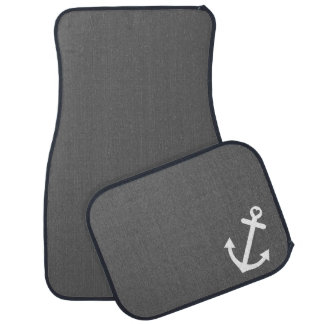 Gray Nautical Love Anchor Car Mat