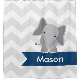 Gray Navy Blue Chevron Elephant Kids Personalized Shower Curtain