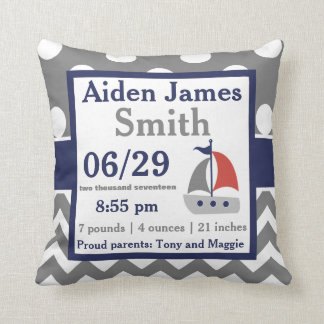 Gray Navy Sailboat Boat Birth Announcement Pillow
