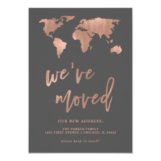Gray New Address Announcement | Faux Rose Gold Map