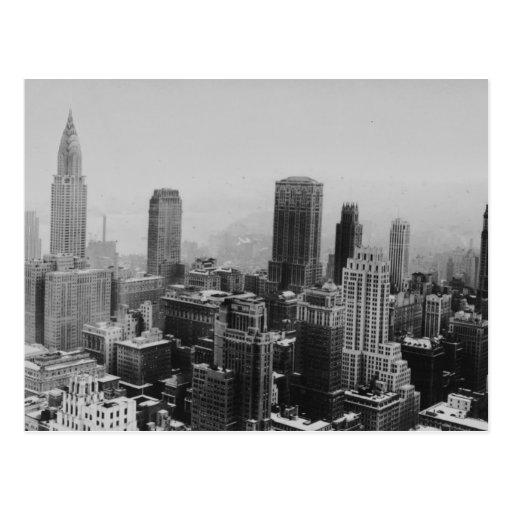 Gray New York City Night Postcard