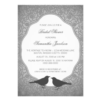 Gray Nouveau Floral Frame Bridal Shower Invite