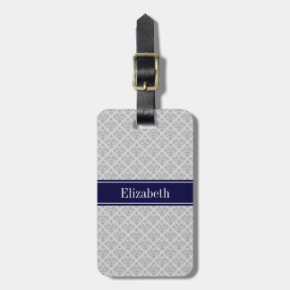Gray on Gray Damask #3 Navy Blue Name Monogram Luggage Tag