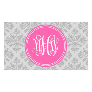 Gray on Lt Gray Damask #3 Hot Pink Vine Monogram Business Card Template