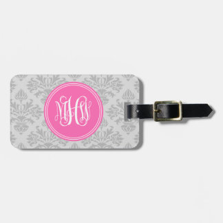 Gray on Lt Gray Damask #3 Hot Pink Vine Monogram Tag For Luggage