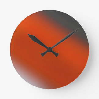 Gray Orange Grey Round Clock