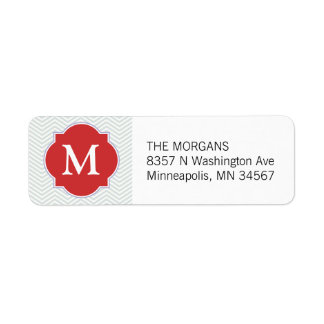 Gray & Orange Modern Chevron Custom Monogram Return Address Label