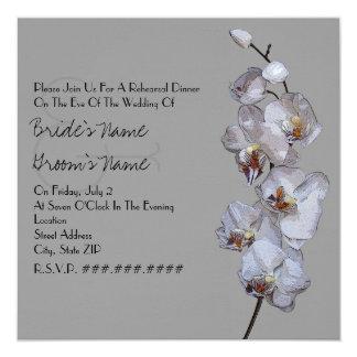 Gray Orchid Modern Rehearsal Dinner Card