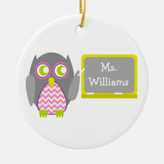 Gray Owl Pink Chevron Teacher At Chalkboard Christmas Ornament