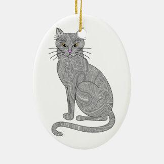 Gray Paisley Cat Ornament