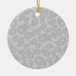 Gray Paisley. Christmas Ornament