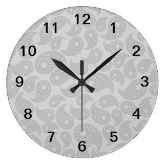 Gray Paisley. Large Clock