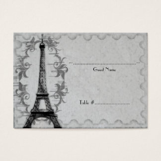 Gray Paris Grunge Reception Seating Card