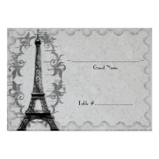 Gray Paris Grunge Reception Seating Card Business Card Templates