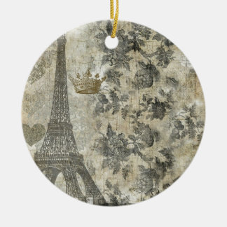 Gray Parisian Collage Christmas Ornament