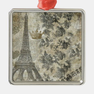 Gray Parisian Collage Silver-Colored Square Decoration