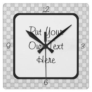 Gray Patchwork Pattern Wall Clocks