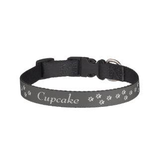 Gray Paw Print Dog Collar