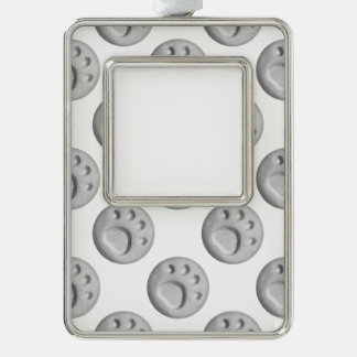 Gray Paw Print Dot Silver Plated Framed Ornament