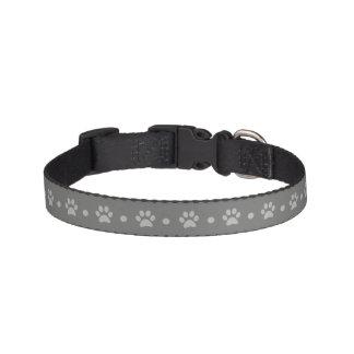 Gray Paw Print Polka Dot Dog Collar