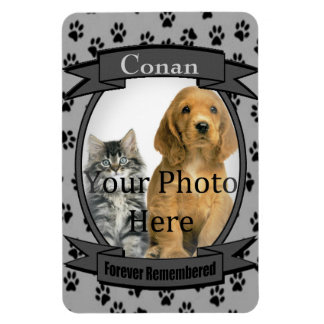 Gray Paw Prints Memorial for Cat or Dog Rectangular Photo Magnet