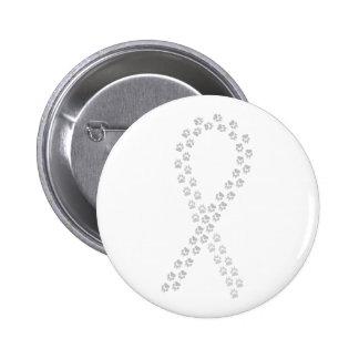 Gray Pawprint Ribbon 6 Cm Round Badge