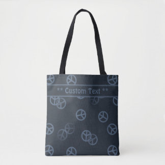 Gray Peace Sign Pattern w/ Custom Text Tote Bag
