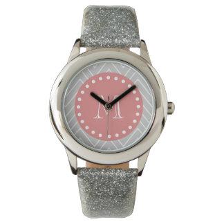 Gray & Peach Modern Chevron Custom Monogram Watch