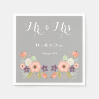 Gray & Peach Watercolor Floral Cocktail Napkins Disposable Napkin