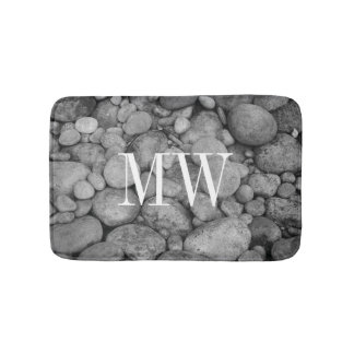 Gray pebble stone monogram non slip bath mat