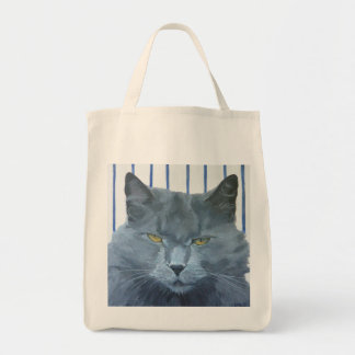 Gray Persian Cat portrait tote.