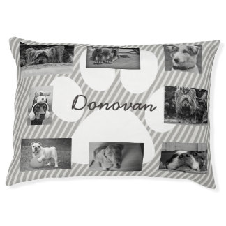 Gray Personalized Photo Paw Love Dog Bed