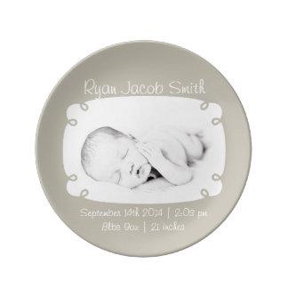 Gray Photo Ready Personalized Newborn Keepsake Porcelain Plate