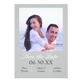 Gray Photo Vertical - Save the Date Card