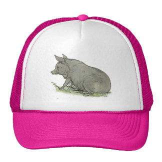 Gray Pig Piggy Children's Book Illustration Hat