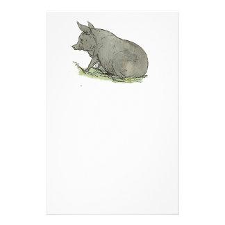 Gray Pig Piggy Children's Book Illustration Customized Stationery