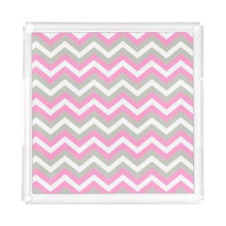 Gray Pink and White Chevron Acrylic Tray