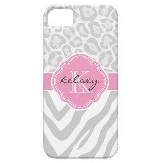 Gray & Pink Animal Print Custom Monogram iPhone 5 Cases