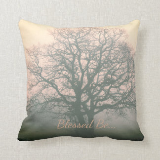 Gray / Pink Blessed Be Winter Oak Cushion