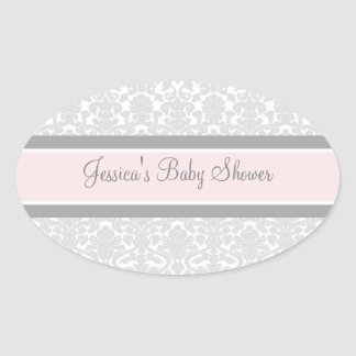 Gray Pink Damask Baby Shower Favor Stickers