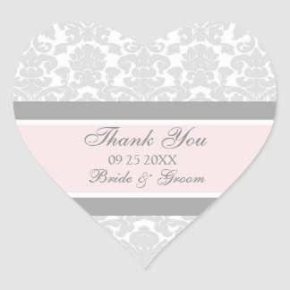 Gray Pink Damask Thank You Wedding Favor Tags Heart Sticker