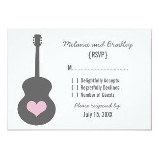 "Gray/Pink Guitar Heart Response Card 3.5"" X 5"" Invitation Card"