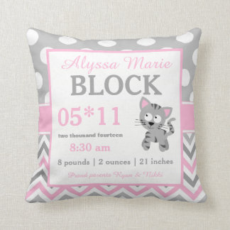 Gray Pink Kitty Cat Baby Announcement Pillow