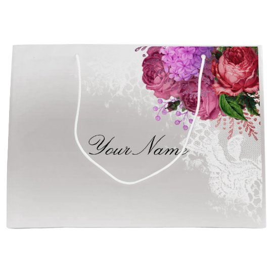 Gray Pink Red Peony White Lace Name Custom Large Gift Bag