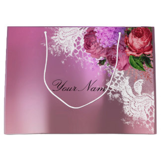 Gray Pink Red Peony White Lace Name Metallic Large Gift Bag