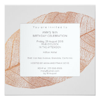 Gray Pink Rose Gold Leaf Birthday Party 13 Cm X 13 Cm Square Invitation Card