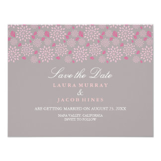Gray & Pink Spring floral Wedding Save The Date Card